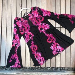 INTIMATELY FREE Pink & Black Floral Sheer Tunic